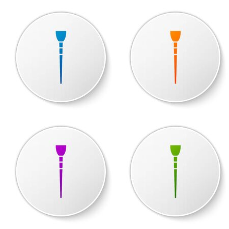 Color Makeup brush icon isolated on white background. Set icons in circle buttons. Vector Illustration