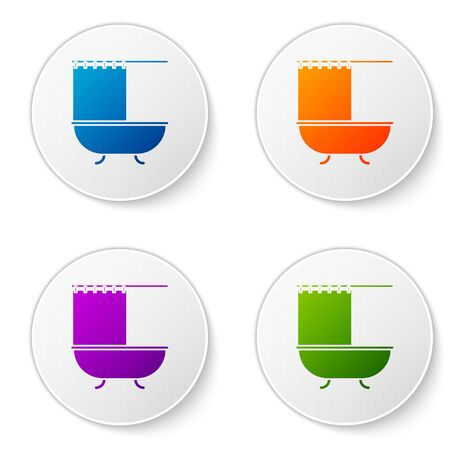 Color Bathtub with open shower curtain icon isolated on white background. Set icons in circle buttons. Vector Illustration