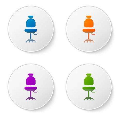 Color Office chair icon isolated on white background. Set icons in circle buttons. Vector Illustration