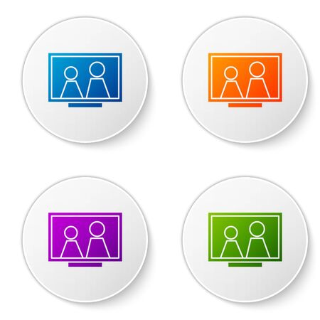 Color Picture frame on table icon isolated on white background. Set icons in circle buttons. Vector Illustration