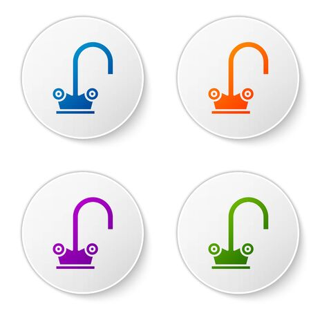 Color Water tap icon isolated on white background. Set icons in circle buttons. Vector Illustration
