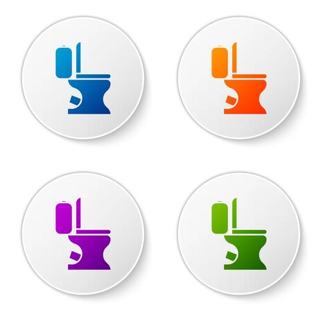Color Toilet bowl icon isolated on white background. Set icons in circle buttons. Vector Illustration