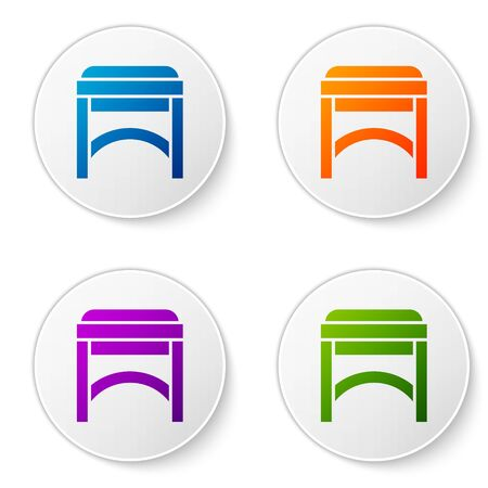 Color Chair icon isolated on white background. Set icons in circle buttons. Vector Illustration Foto de archivo - 138272549