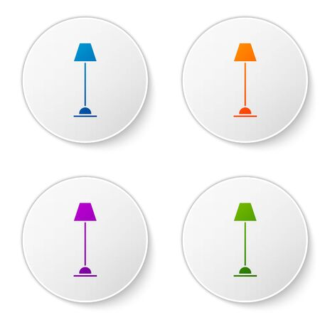 Color Floor lamp icon isolated on white background. Set icons in circle buttons. Vector Illustration