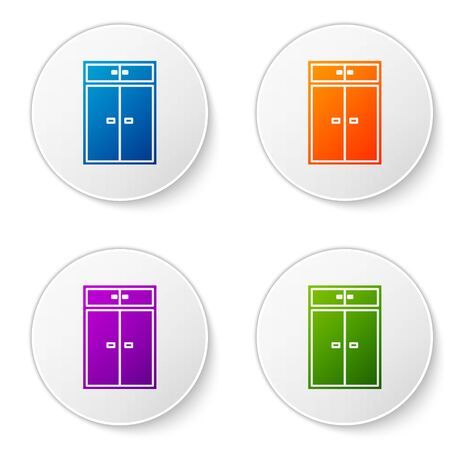 Color Wardrobe icon isolated on white background. Set icons in circle buttons. Vector Illustration