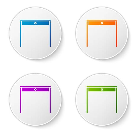 Color Wooden table icon isolated on white background. Set icons in circle buttons. Vector Illustration Foto de archivo - 138272867