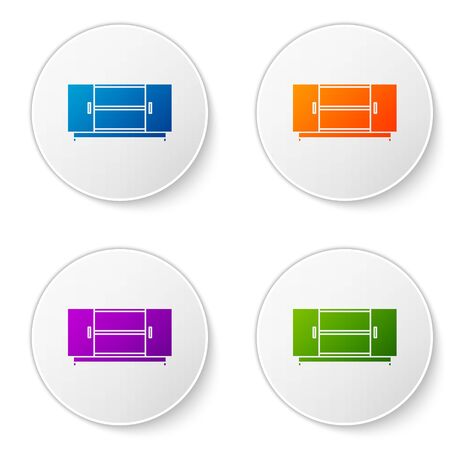 Color TV table stand icon isolated on white background. Set icons in circle buttons. Vector Illustration Illusztráció