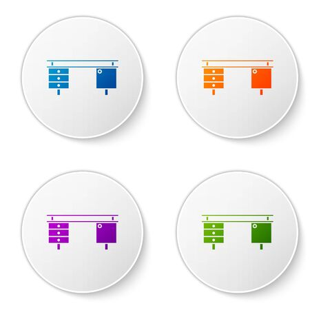 Color Office desk icon isolated on white background. Set icons in circle buttons. Vector Illustration Foto de archivo - 138272893
