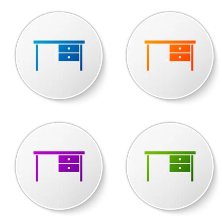 Color Office desk icon isolated on white background. Set icons in circle buttons. Vector Illustration Foto de archivo - 138272859
