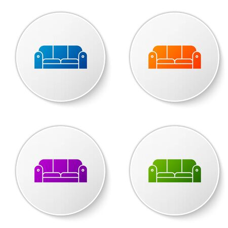 Color Sofa icon isolated on white background. Set icons in circle buttons. Vector Illustration