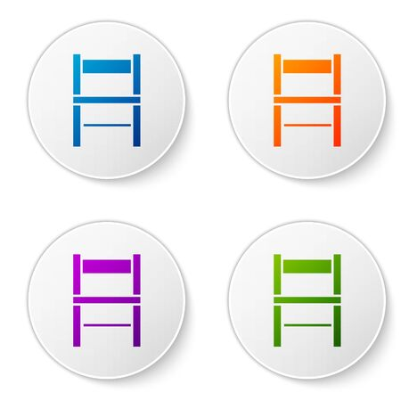 Color Chair icon isolated on white background. Set icons in circle buttons. Vector Illustration Foto de archivo - 138277414