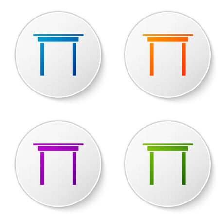 Color Wooden table icon isolated on white background. Set icons in circle buttons. Vector Illustration Foto de archivo - 138277416