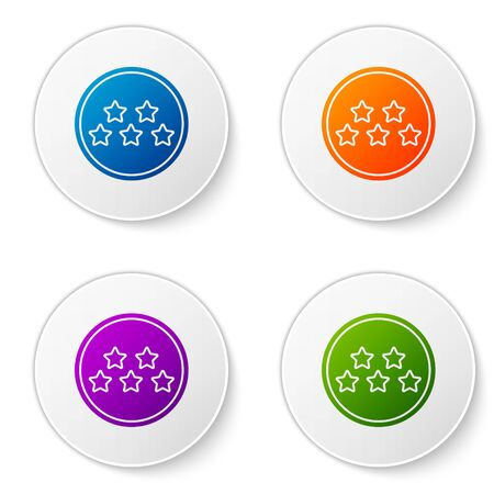Color Five stars customer product rating review icon isolated on white background. Favorite, best rating, award symbol. Set icons in circle buttons. Vector Illustration Foto de archivo - 138273845