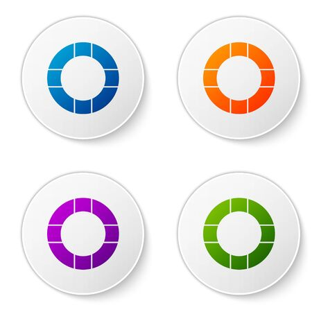 Color Lifebuoy icon isolated on white background. Lifebelt symbol. Set icons in circle buttons. Vector Illustration Illustration