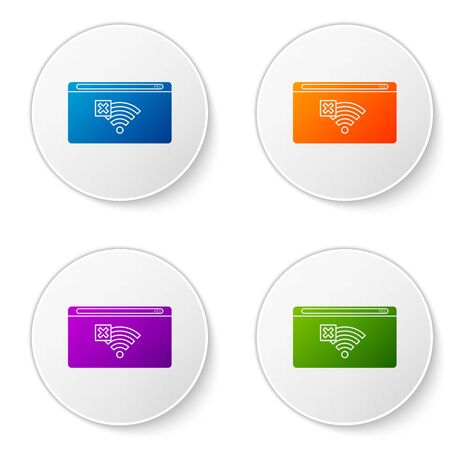 Color No Internet connection icon isolated on white background. No wireless wifi or sign for remote internet access. Set icons in circle buttons. Vector Illustration Иллюстрация