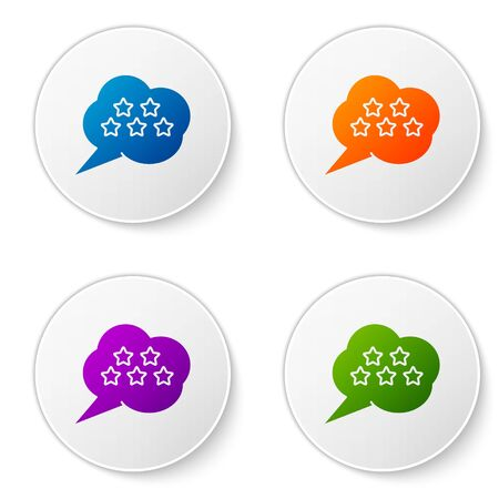 Color Five stars customer product rating review icon isolated on white background. Favorite, best rating, award symbol. Set icons in circle buttons. Vector Illustration Foto de archivo - 138277548