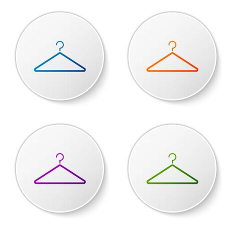 Color Hanger wardrobe icon isolated on white background. Cloakroom icon. Clothes service symbol. Laundry hanger sign. Set icons in circle buttons. Vector Illustration
