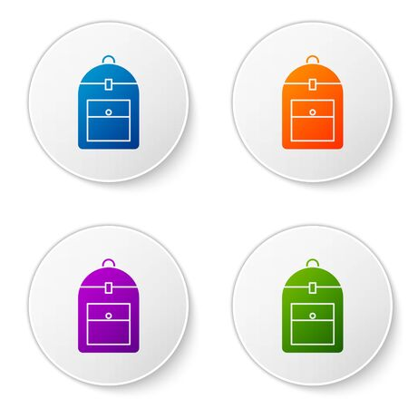 Color Backpack icon isolated on white background. Set icons in circle buttons. Vector Illustration