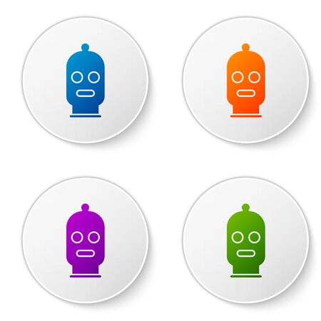 Color Balaclava icon isolated on white background. A piece of clothing for winter sports or a mask for a criminal or a thief. Set icons in circle buttons. Vector Illustration