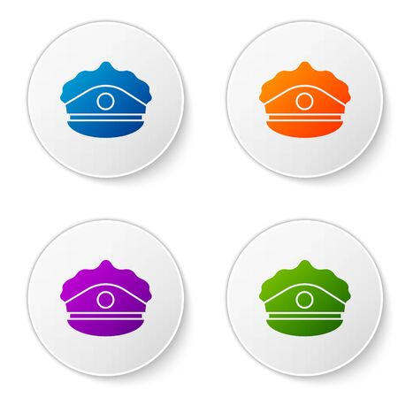 Color Police cap with cockade icon isolated on white background. Police hat sign. Set icons in circle buttons. Vector Illustration Illustration
