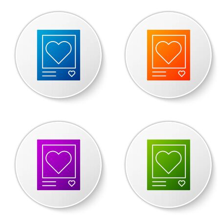 Color Blanks photo frames and hearts icon isolated on white background. Valentines Day symbol. Set icons in circle buttons. Vector Illustration