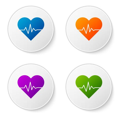 Color Heart rate icon isolated on white background. Heartbeat sign. Heart pulse icon. Cardiogram icon. Set icons in circle buttons. Vector Illustration
