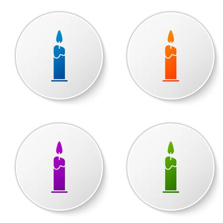 Color Burning candle in candlestick icon isolated on white background. Cylindrical candle stick with burning flame. Set icons in circle buttons. Vector Illustration