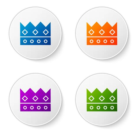 Color King crown icon isolated on white background. Set icons in circle buttons. Vector Illustration