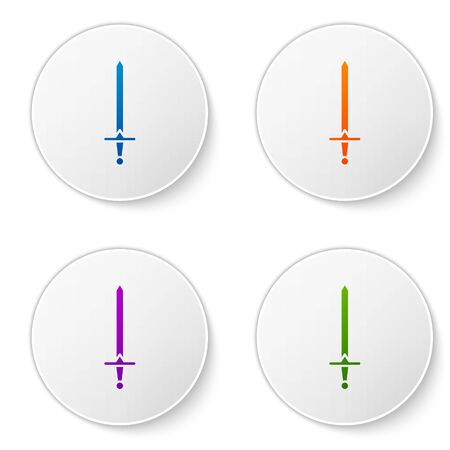 Color Medieval sword icon isolated on white background. Medieval weapon. Set icons in circle buttons. Vector Illustration