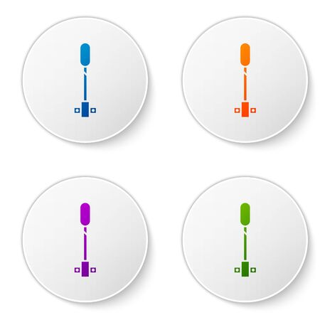 Color Torch flame icon isolated on white background. Symbol fire hot, flame power, flaming and heat. Set icons in circle buttons. Vector Illustration Ilustrace