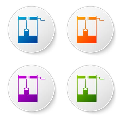Color Well with a bucket and drinking water icon isolated on white background. Set icons in circle buttons. Vector Illustration Иллюстрация