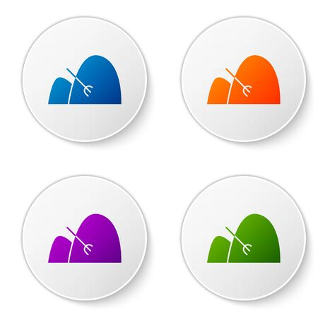 Color Bale of hay and rake icon isolated on white background. Set icons in circle buttons. Vector Illustration