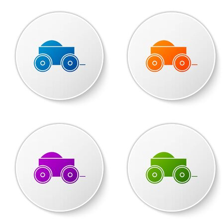 Color Wooden four-wheel cart with hay icon isolated on white background. Set icons in circle buttons. Vector Illustration  イラスト・ベクター素材