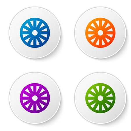 Color Old wooden wheel icon isolated on white background. Set icons in circle buttons. Vector Illustration