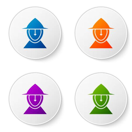 Color Medieval iron helmet for head protection icon isolated on white background. Set icons in circle buttons. Vector Illustration