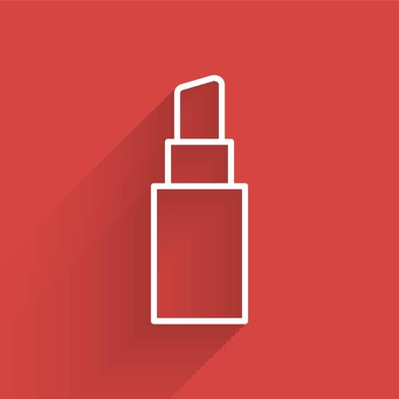 White line Lipstick icon isolated with long shadow. Vector Illustration