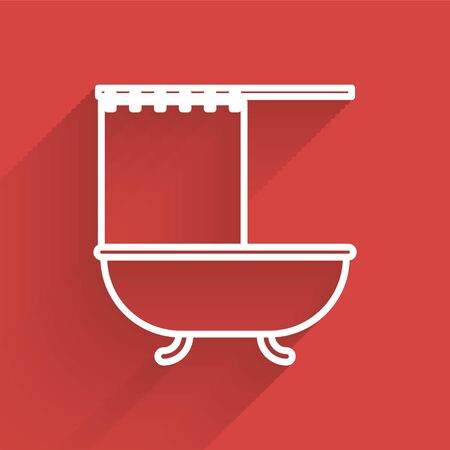 White line Bathtub with open shower curtain icon isolated with long shadow. Vector Illustration Ilustrace