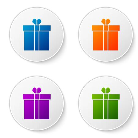 Color Gift box and heart icon isolated on white background. Valentines day. Set icons in circle buttons. Vector Illustration