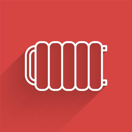 White line Heating radiator icon isolated with long shadow. Vector Illustration 일러스트