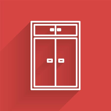 White line Wardrobe icon isolated with long shadow. Vector Illustration