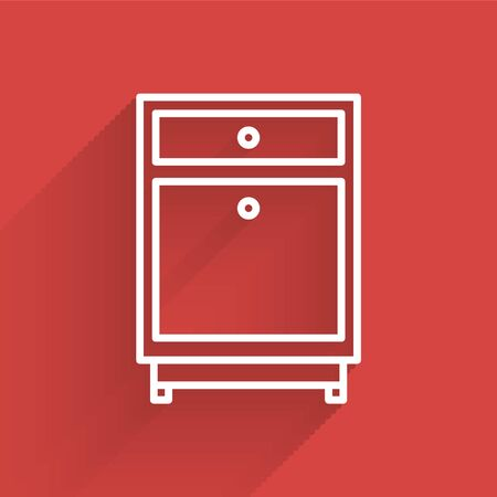 White line Furniture nightstand icon isolated with long shadow. Vector Illustration