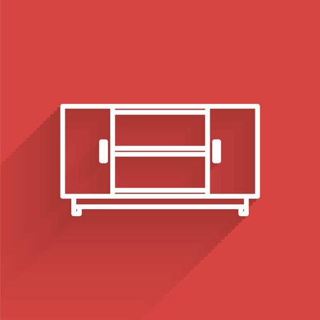 White line TV table stand icon isolated with long shadow. Vector Illustration Illusztráció