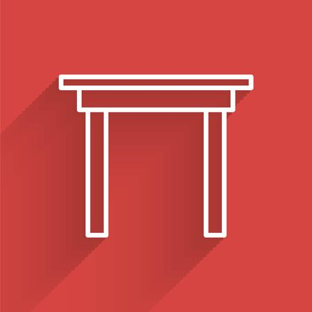 White line Wooden table icon isolated with long shadow. Vector Illustration