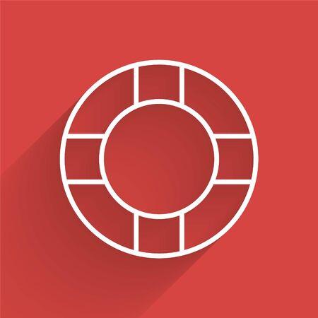 White line Lifebuoy icon isolated with long shadow. Lifebelt symbol. Vector Illustration Illustration