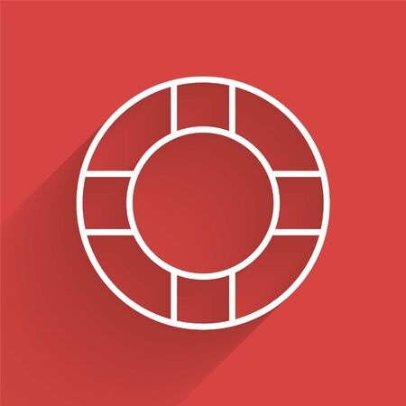 White line Lifebuoy icon isolated with long shadow. Lifebelt symbol. Vector Illustration Çizim