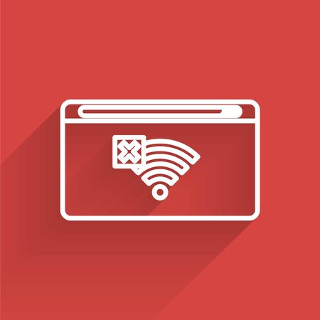 White line No Internet connection icon isolated with long shadow. No wireless wifi or sign for remote internet access. Vector Illustration Иллюстрация