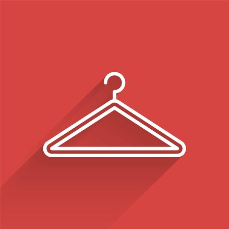 White line Hanger wardrobe icon isolated with long shadow. Cloakroom icon. Clothes service symbol. Laundry hanger sign. Vector Illustration