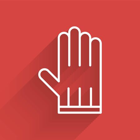 White line Leather glove icon isolated with long shadow. Vector Illustration