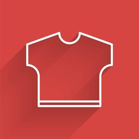 White line T-shirt icon isolated with long shadow. Vector Illustration