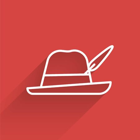 White line Oktoberfest hat icon isolated with long shadow. Hunter hat with feather. German hat. Vector Illustration